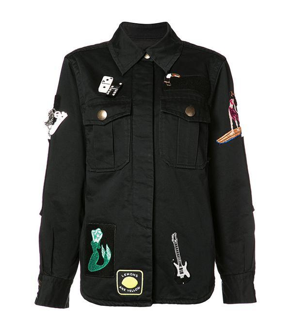 black patched utility jacket