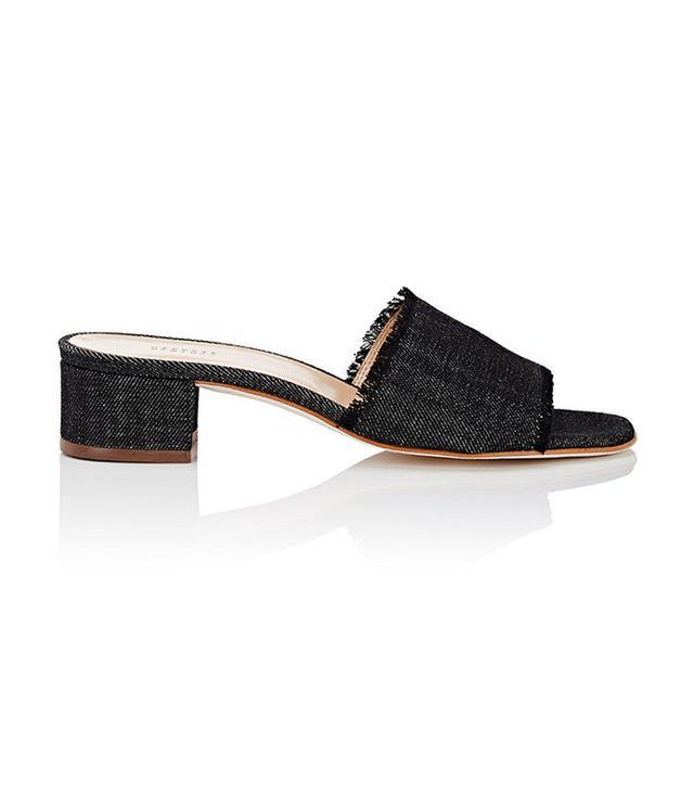 Barneys New York Fringed Denim Slide Sandals