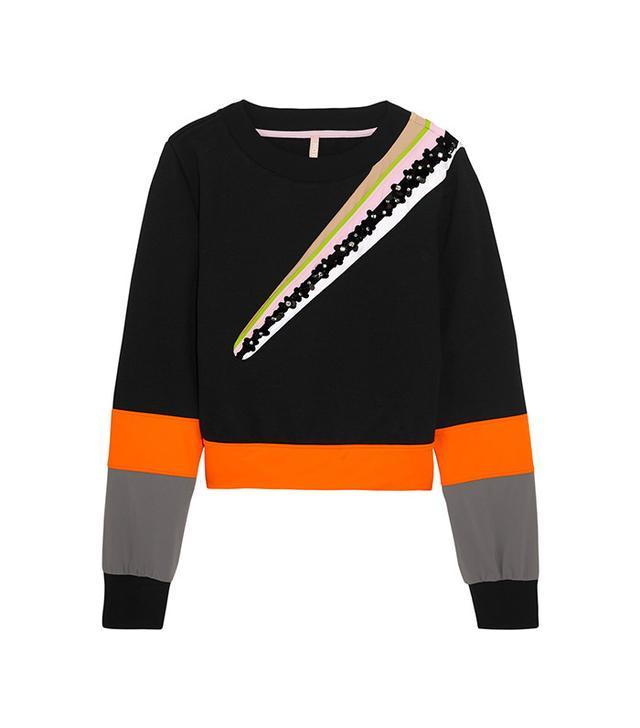 No Ka'oi Wili Embellished Striped Cotton-Blend Jersey Sweatshirt