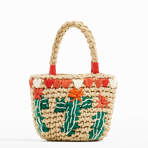 Raffia Effect Basket Bag With Embroideries