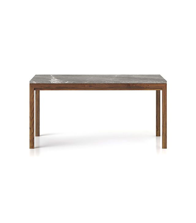 Crate and Barrel Parsons Grey Marble Top/Elm Base Dining Tables