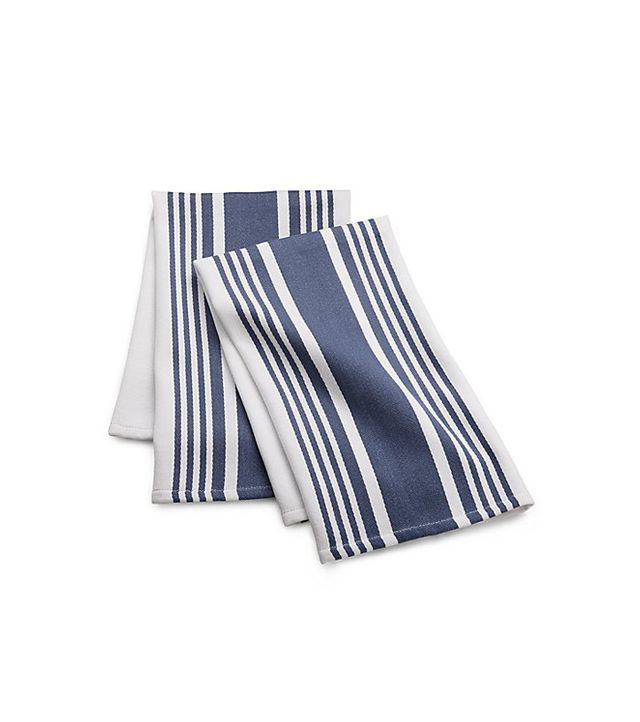 Crate and Barrel Cuisine Stripe Indigo Blue Dish Towels, Set of 2