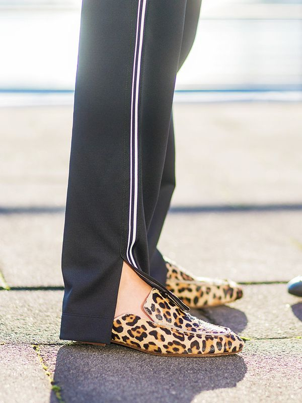 How to wear leopard print: Smarten up tracksuit pants with printed flats