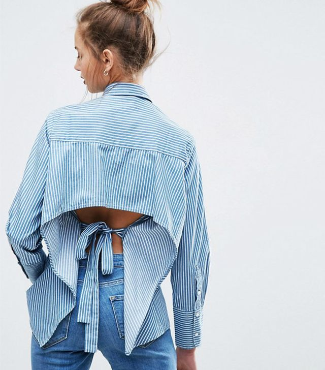 Best Striped Shirts: ASOS Denim Stripe Shirt With Long Cuff and Open Back