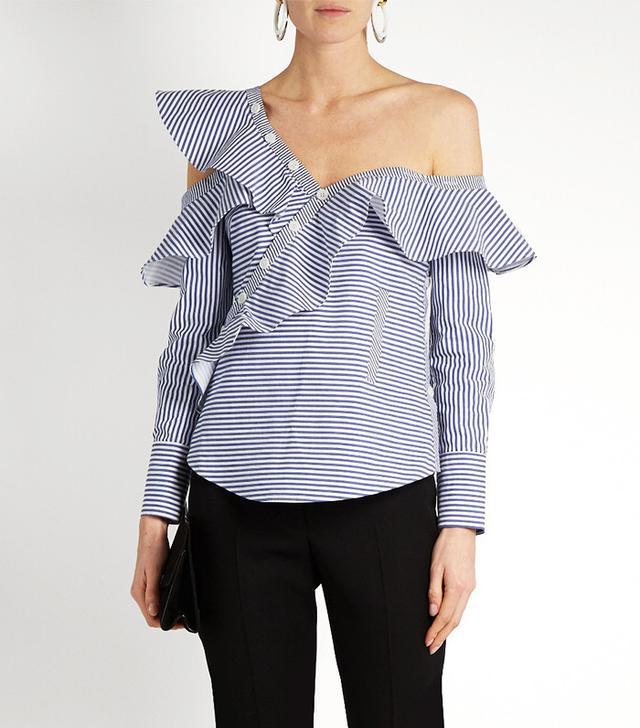 Best Striped Shirts: Self-Portrait One-Shoulder Shirt