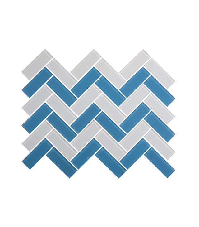 Susan Jablon White and Turquoise Herringbone Glass Tiles