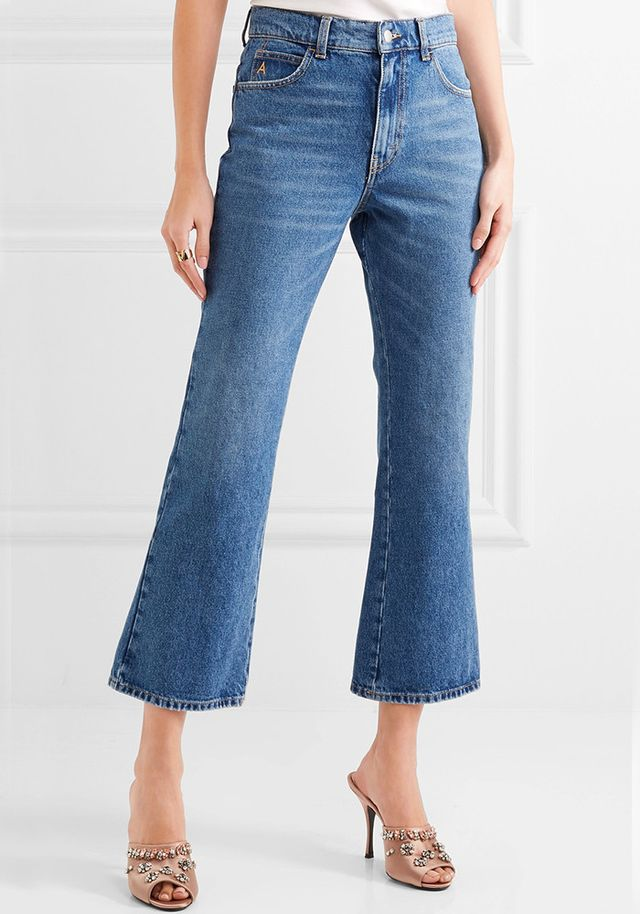 Attico Rosa Cropped High-Rise Flared Jeans