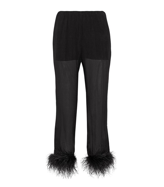 Prada Feather-trimmed Silk-georgette Straight-leg Pants
