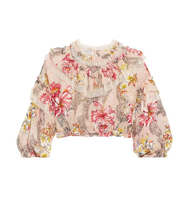 Philosophy di Lorenzo Serafini Cropped Ruffled Floral-print Cotton and Silk-blend Top