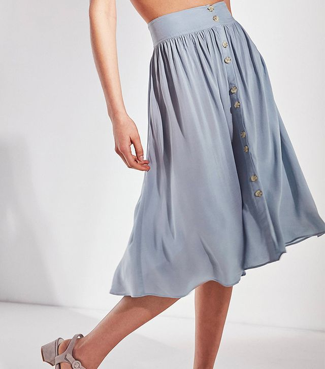 Ecote Kara Button-Front Midi Skirt
