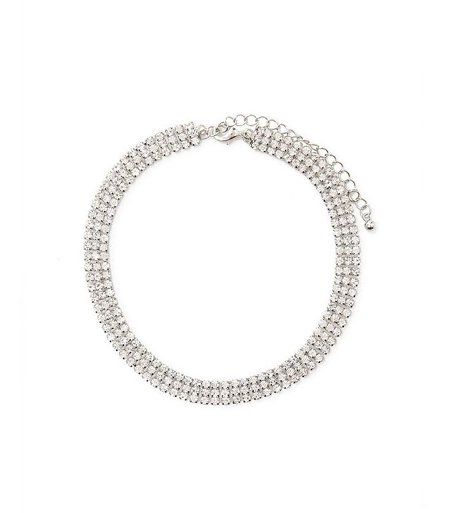 best crystal choker necklace - Forever 21 Rhinestone Chainmail Choker