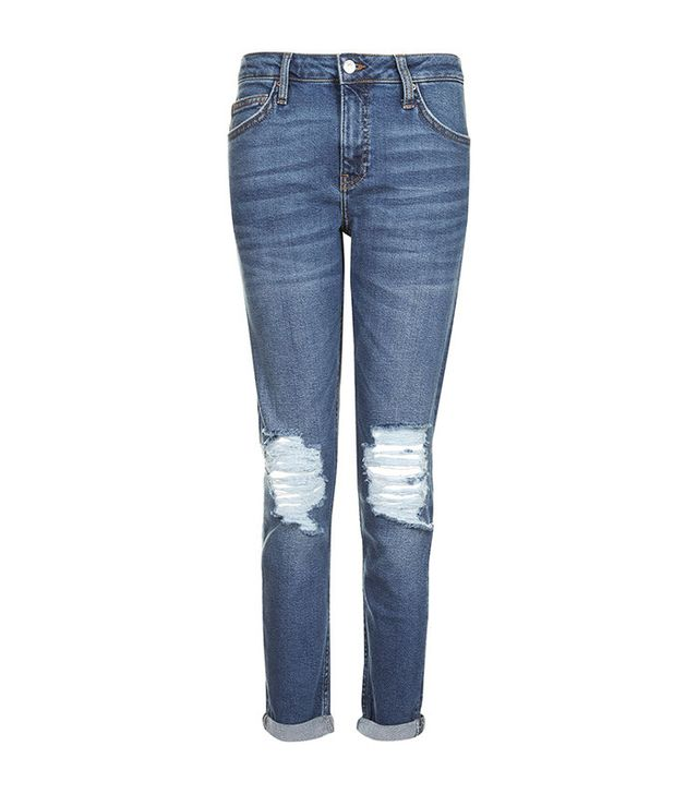 Topshop Dark Blue Ripped Lucas Jeans