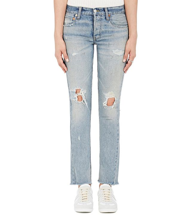Re/done Distressed Low Rise Skinny Jeans