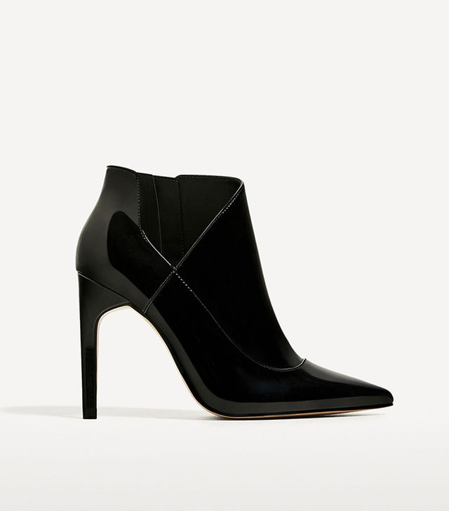 Zara High Heel Patent Finish Ankle Boots