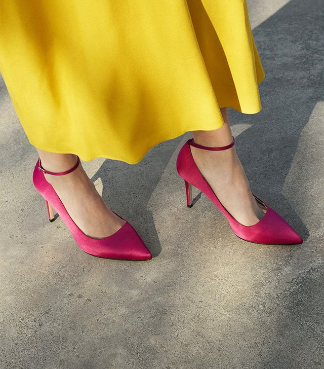 Mango pink satin pumps