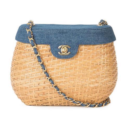 Vintage Denim Basket Crossbody Bag