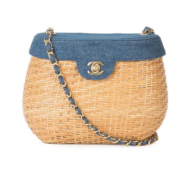 summer basket bag - Chanel Vintage Denim Basket Crossbody Bag