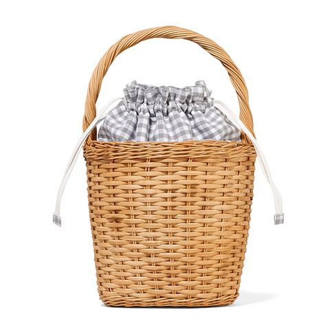 Lily Gingham Wicker Tote