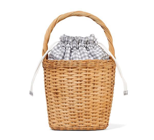 summer basket bag - Edie Parker Lily Gingham Wicker Tote