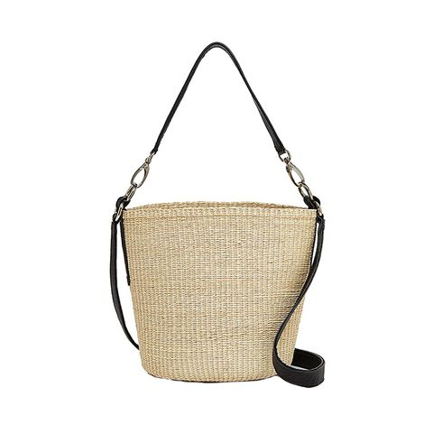 Straw and Leather Crossbody