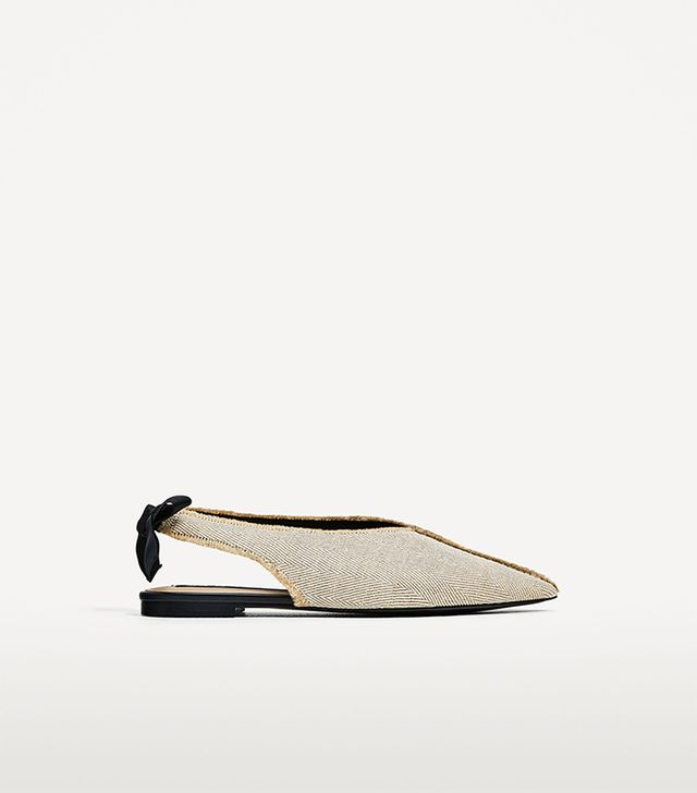 Zara Frayed Fabric Ballerinas