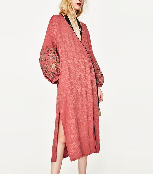 zara jacquard kimono