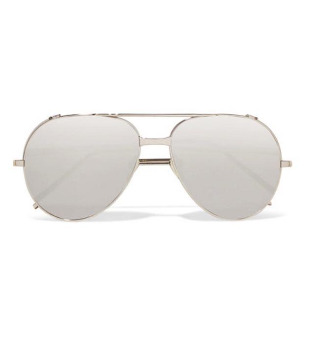 Linda Farrow Aviator-Style Platinum Mirrored Sunglasses