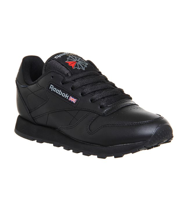 Reebok Classic Leather Trainers Black Leather