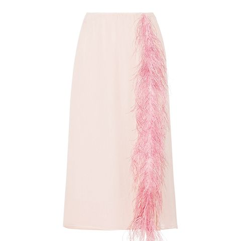 Feather-Trimmed Skirt