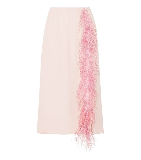 Pink Trend: Prada Feather-Trimmed Skirt