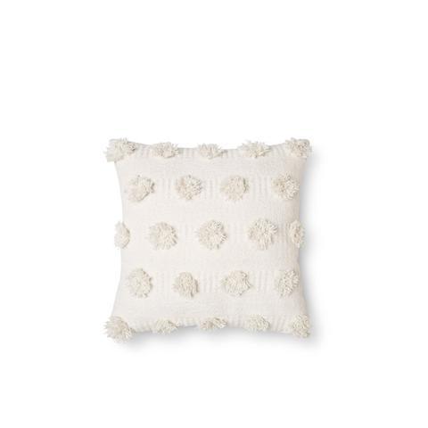 Cream Pom Dot Square Throw Pillow