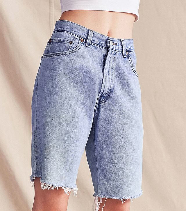 urban renewal long jean shorts