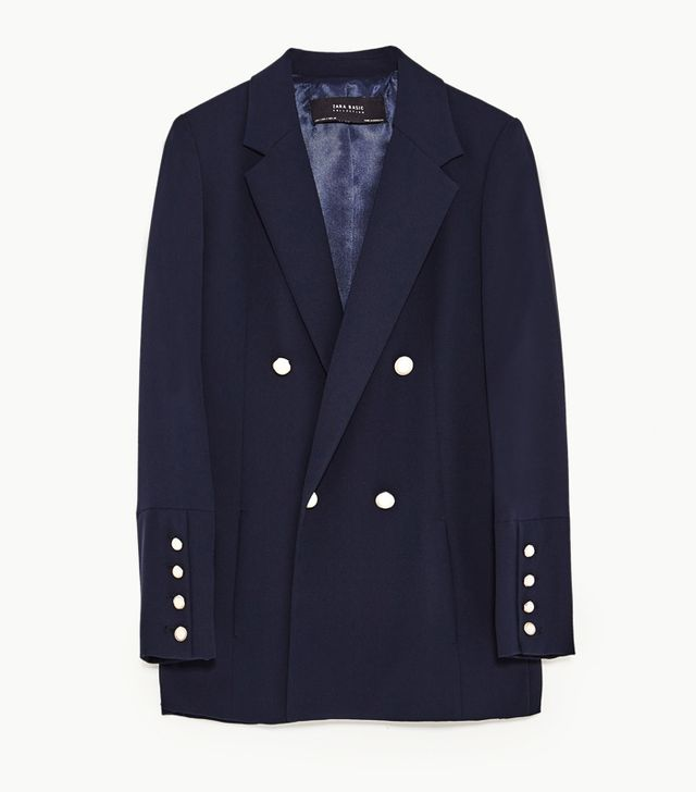 Zara Double Breasted Blazer With Pearly Buttons