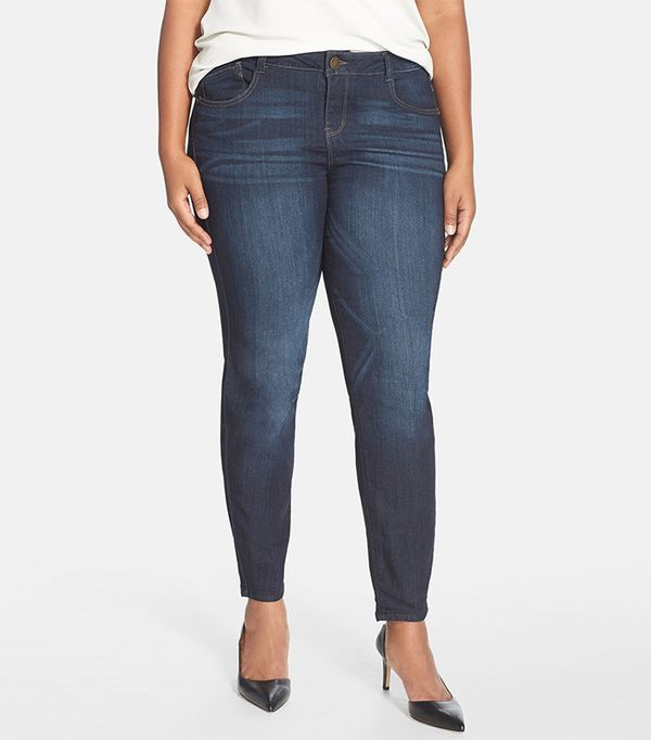 The Best Jeans for Your Body Type. One of the most common complaints among pear-shaped women: If the jeans are roomy enough for their hips and butt, the waist is too big. Old Navy Curvy.