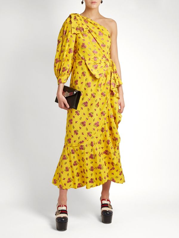 Gucci Floral Fil Coupé Silk-Blend Dress
