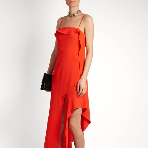 Ruffled Bias-Cut Stretch-Crepe Dress