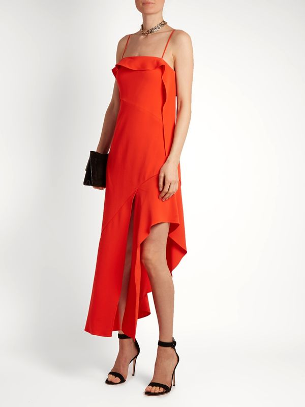 Jonathan Simkhai Ruffled Bias-Cut Stretch-Crepe Dress