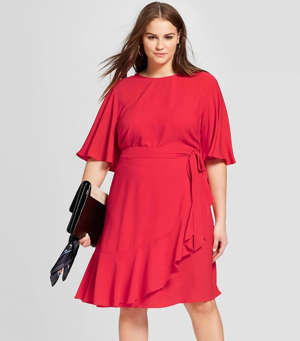 Who What Wear Ruffle Wrap Dress