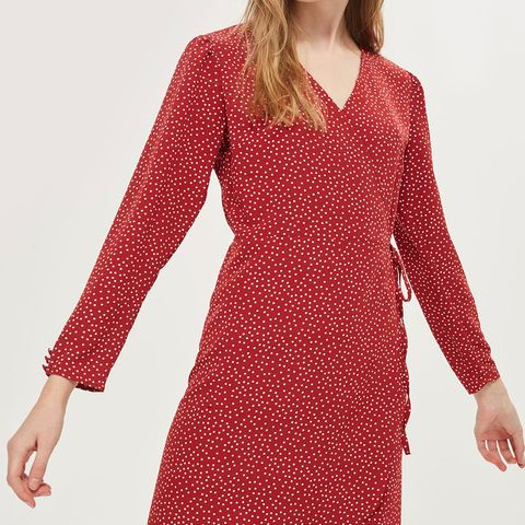 Rust Spot Wrap Mini Dress