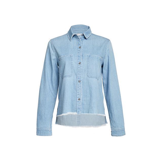 7 for All Mankind 2 Pocket Slim Boyfriend Shirt in Crystal Blue