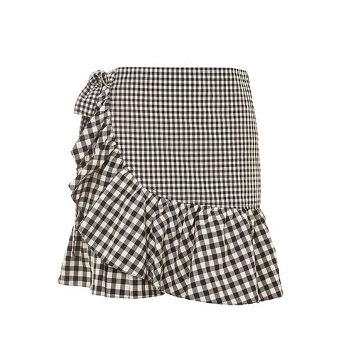 Gingham Frill Wrap Mini Skirt