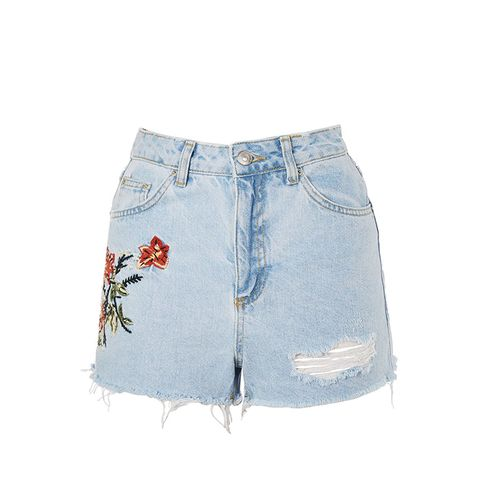 Moto Flower Embroidered Denim Mom Shorts