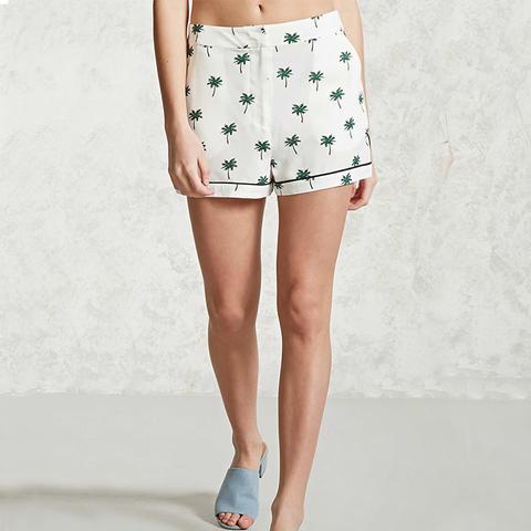 Palm Print Woven Shorts