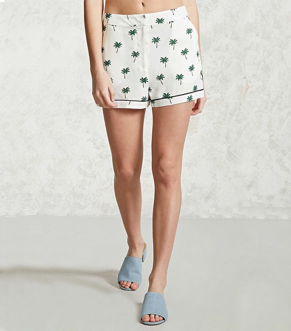 Forever 21 Palm Print Woven Shorts