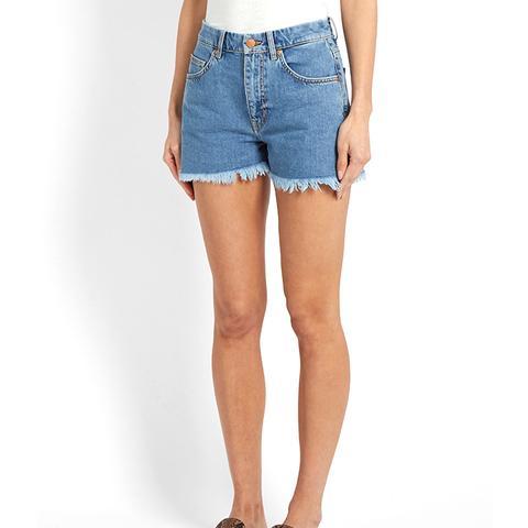 Halsy Raw-Hem Mid-Rise Denim Shorts
