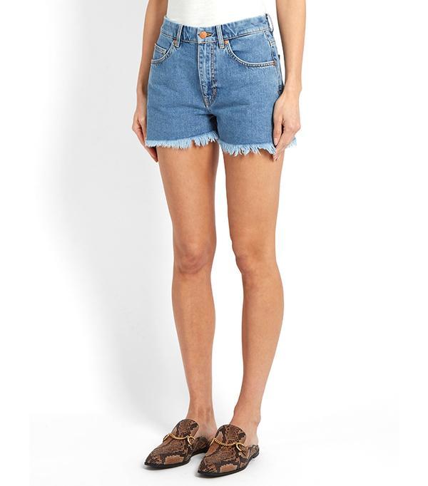 M.i.h Jeans Halsy Raw-Hem Mid-Rise Denim Shorts