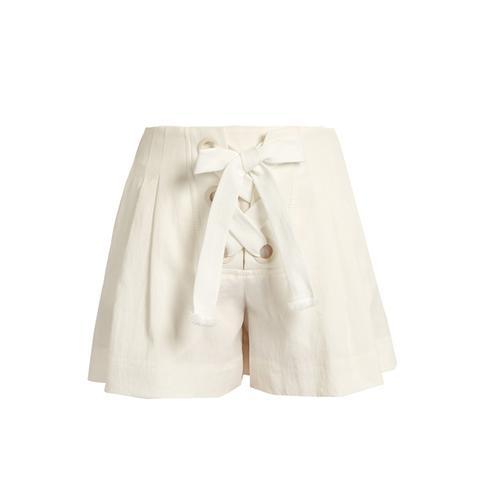 Lace-Up Linen-Blend Shorts