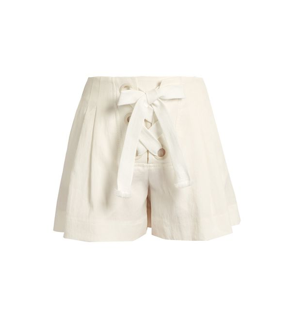 Sonia Rykiel Lace-Up Linen-Blend Shorts