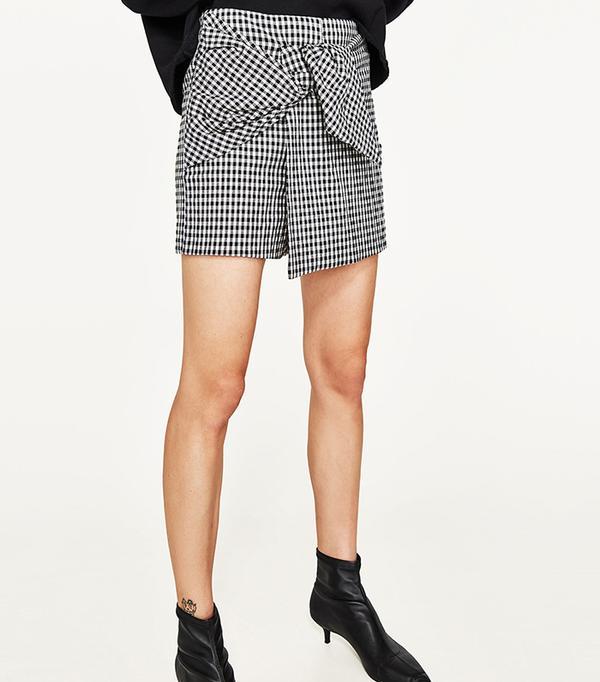 Zara Fine Check Bermuda Shorts