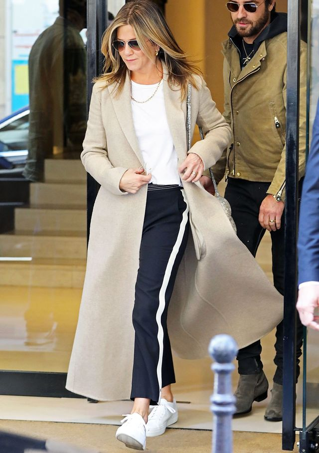 On Jennifer Aniston: Chloé Canvas-Trimmed Crepe Straight-Leg Pants ($1250).